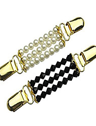 cheap -2 pack pearl & black sweater clips, beaded cardigan clips, stylish pearl, cardigan collar clip (black+white)