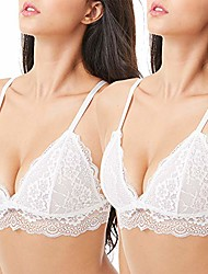 cheap -lace bralettes for women adjustable strap sexy v neck unpadded wire free incomeplete see through & #40;pack of 2 & #40;white white& #41;, small& #41;