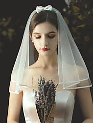 cheap -Two-tier Stylish / Cute Wedding Veil Shoulder Veils with Satin Bow / Solid Tulle