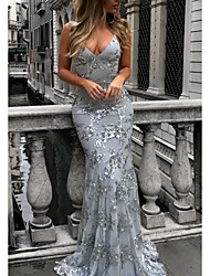 cheap -Women's Trumpet / Mermaid Dress Maxi long Dress Wine Dusty Blue Beige Gray Sleeveless Solid Color Backless Sequins Patchwork Spring V Neck Elegant Sexy 2021 S M L XL