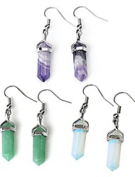 cheap -jovivi womens natural amethyst aventurine opalite crystal chakra pendant earrings set