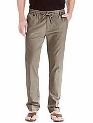 cheap -mens linen loose casual lightweight elastic waist yoga beach drawstring pants straight trousers