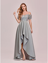 cheap -A-Line Empire Elegant Party Wear Prom Dress Spaghetti Strap Short Sleeve Asymmetrical Satin with Sequin 2021