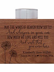 """cheap -personalized memorial sympathy votive funeral candle holder cherry wood keepsake gift ideas for loved one 3.75"""" x 3.75"""" x 2.75 (may the winds of heaven blow)"""