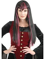 cheap -gothic vampira (black/red) adult wig, one size fits most adults, black
