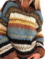 cheap -Women's Striped Jumper Acrylic Fibers Long Sleeve Sweater Cardigans Crew Neck Fall Winter Rainbow