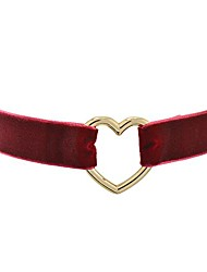 cheap -wine red velvet belt gothic choker necklace 12-15 inches, yellow heart shape