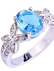 cheap -925 silver plated created blue topaz oval cut cz with butterfly womens ring size 10
