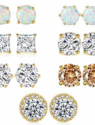 cheap -stud earrings pack 18k gold plated halo cubic zirconia & opal earrings hypoallergenic studs for sensitive ears 7 pairs