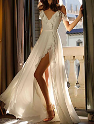cheap -A-Line Wedding Dresses V Neck Court Train Chiffon Sleeveless Beach with Ruffles Split Front 2021