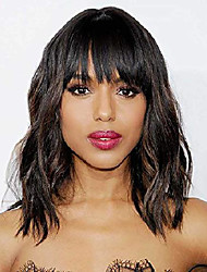 cheap -short wavy bob wigs with bangs for women black mixed brown color short wavy bob curly wig synthetic natural looking heat resistant fiber hair for daily life(black mix brown)…