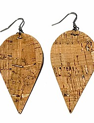 cheap -natural | cork wood grain faux leather teardrop earrings | stainless-steel hypoallergenic drop earrings | packaged in floral box for gift (natural)