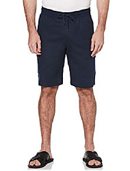 cheap -men's drawstring linen cargo short, dress blues, x large