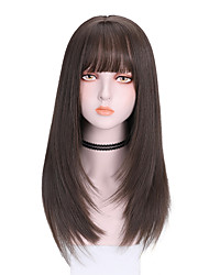 cheap -Synthetic Wig Straight With Bangs Wig Medium Length Dark Brown Brown Black Synthetic Hair 16 inch Women's Comfy Fluffy Black Brown