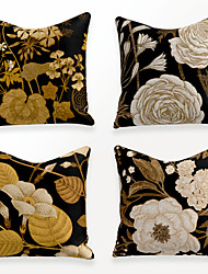 cheap -Cushion Cover 4PCS Linen Soft Decorative Square Throw Pillow Cover Cushion Case Pillowcase for Sofa Bedroom 45 x 45 cm (18 x 18 Inch) Superior Quality Mashine Washable Chinese Style Beauty Gold White