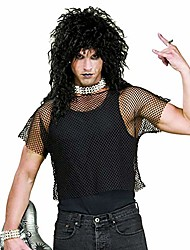 cheap -men's 80's heavy metal rock star mesh shirt costume black (one size)