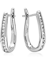 cheap -ags certified 1/4ct diamond hoop earrings in 10k white gold