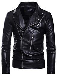 cheap -men's pu leather jacket causal belted faux leather motorcycle jacket zipper biker coat style 2 black xl