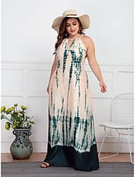cheap -Women's Swing Dress Maxi long Dress Green Sleeveless Print Backless Summer Casual vacation dresses 2021 L XL XXL 3XL 4XL / Plus Size