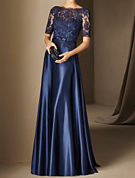 cheap -A-Line Elegant Floral Wedding Guest Formal Evening Dress Illusion Neck Half Sleeve Floor Length Lace Satin with Lace Insert Appliques 2021
