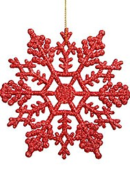 cheap -plastic glitter snowflake, 4-inch, red, 24 per box