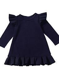cheap -Kids Girls' Cute Solid Colored Ruffle Long Sleeve Knee-length Dress Royal Blue