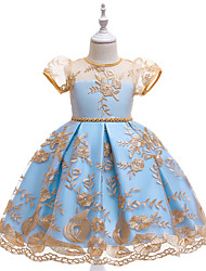 cheap -Princess Dress Girls' Movie Cosplay New Year's Blue Skirt Christmas Halloween New Year Polyester / Cotton Polyester