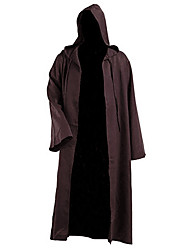 cheap -Men's Fall Open Front Hooded Cloak / Capes Long Solid Colored Daily Punk & Gothic Plus Size Long Sleeve Brown S M L XL / Loose