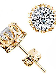 cheap -fashion crown earrings women brincos de prata men sterling silver crystal jewerly double stud earrings