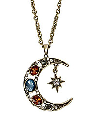 cheap -boho antique gold tribal crescent moon faceted crystal long necklace for women