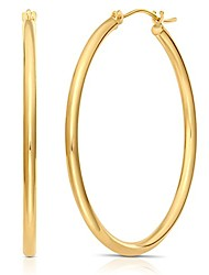 """cheap -14k gold round polished hoop earrings, 2"""" diameter (yellow-gold)"""