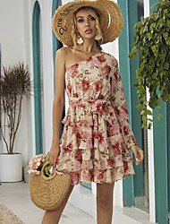 cheap -A-Line Floral Boho Holiday Party Wear Dress One Shoulder Long Sleeve Short / Mini Chiffon with Ruffles Pattern / Print 2020