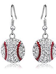 cheap -clear zircon baseball dangle earrings fashion sports ball earring jewelry baseball