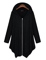 cheap -womens cotton casual loose plus size hoodie zipper jacket outwear black