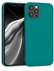 cheap -tpu silicone case compatible with apple iphone 12 pro max - soft flexible protective phone cover - teal matte