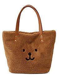 cheap -Women's Bags Faux Fur Top Handle Bag Zipper Handbags Daily Outdoor Dark Brown White Blushing Pink Brown