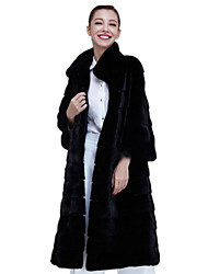 cheap -Women's Stand Collar Faux Fur Coat Long Solid Colored Daily Black S M L XL