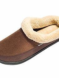 cheap -men's memory foam slippers plush fleece lined slip on anti-skid rubber sole winter indoor outdoor shoes size 9-10