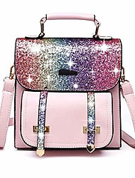cheap -Women's Girls' Bags PU Leather School Bag Rucksack Mini Backpack Zipper Sequins Solid Color Daily Traveling Backpack Golden Pink Black Silver