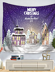 cheap -Christmas Santa Claus Holiday Party Wall Tapestry Art Decor Blanket Curtain Picnic Tablecloth Hanging Home Bedroom Living Room Dorm Decoration Polyester Christmas House White Snow