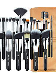 cheap -Portable 24pcs makeup brush set with wooden handle nylon wool pu bag Customized makeup brush set