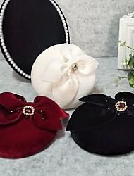 cheap -Headpieces Wedding Flannel Fascinators / Hats / Headpiece with Rhinestone / Cap / Trim 1 PC Wedding / Horse Race Headpiece