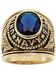 cheap -men's 14k yellow gold plated antiqued oval cut simulated blue sapphire united states navy ring size 9