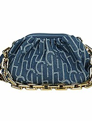 cheap -women denim thick chain crossbody bag dumplings satchel pleated cloud underarm purse evening bag