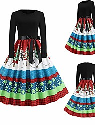 cheap -christmas dresses 2020, women vintage long sleeve print christmas 50s housewife evening party prom dress for girl (black-a, s)