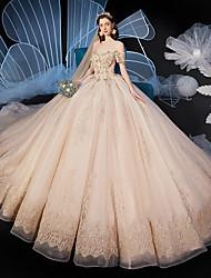 cheap -Ball Gown Wedding Dresses Off Shoulder Watteau Train Organza Short Sleeve Formal Romantic Elegant with Pleats Crystals 2020