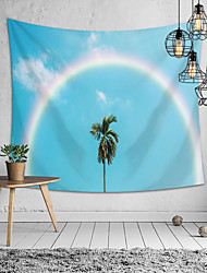 cheap -Wall Tapestry Art Deco Blanket Curtain Picnic Table Cloth Hanging Home Bedroom Living Room Dormitory Decoration Polyester Fiber  Blue Sky Rainbow Coconut Tree