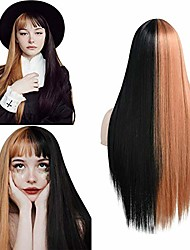 cheap -halloweencostumes fani 22 inch straight half black half blonde wig,women's silky long wig with bangs,heat resistant synthetic wig cosplay halloween party wigs include wig cap