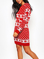 cheap -Women's Christmas Sweater Dress Pullover Knitted Mini Dress Elk Snowflake Printed O Neck Long Sleeve Hip Tight Dress Knit Sweaters Tops Jumper Tunic Tops Winter Warm Knitted Dress (Red, M)