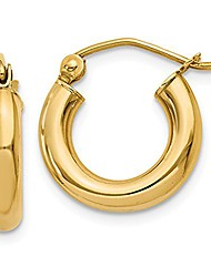 cheap -small 14k gold thick tube hoop earrings, (3mm tube) (.6 inch - 15mm)